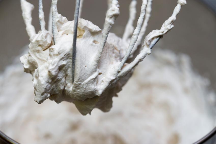 mixing homemade whipped cream