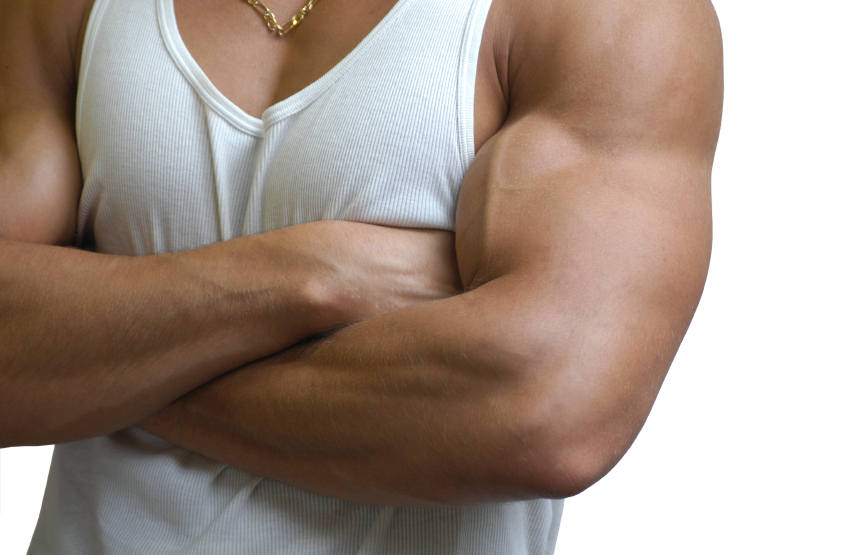 Muscular male in a white sleeveless shirt