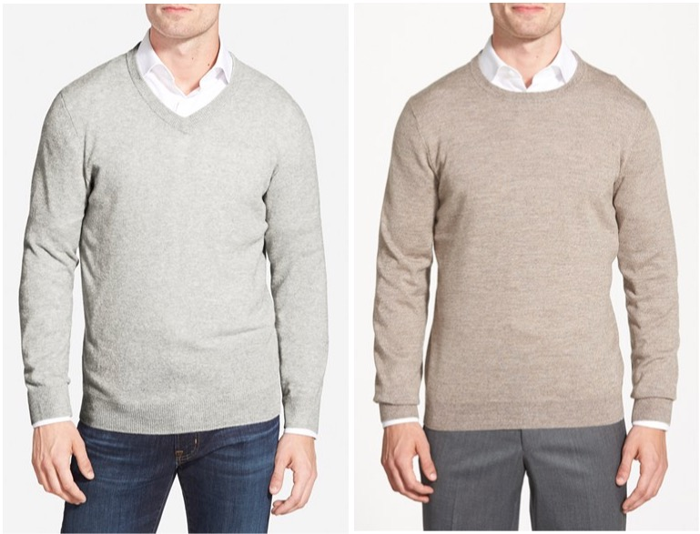Nordstrom cashmere v-neck and merino wool crewneck sweaters