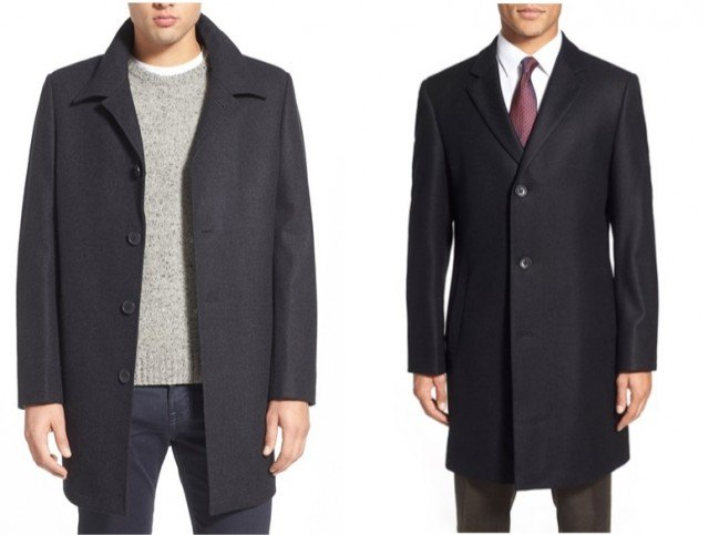 Two different styles of wearing a top coat