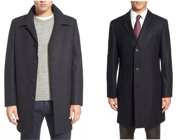 Nordstrom wool-blend car coat and wool twill topcoat