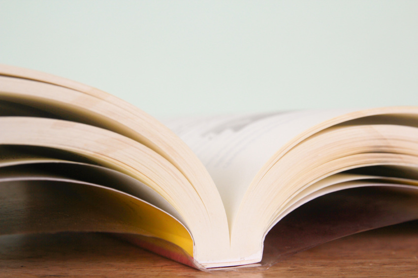 close up of an open book