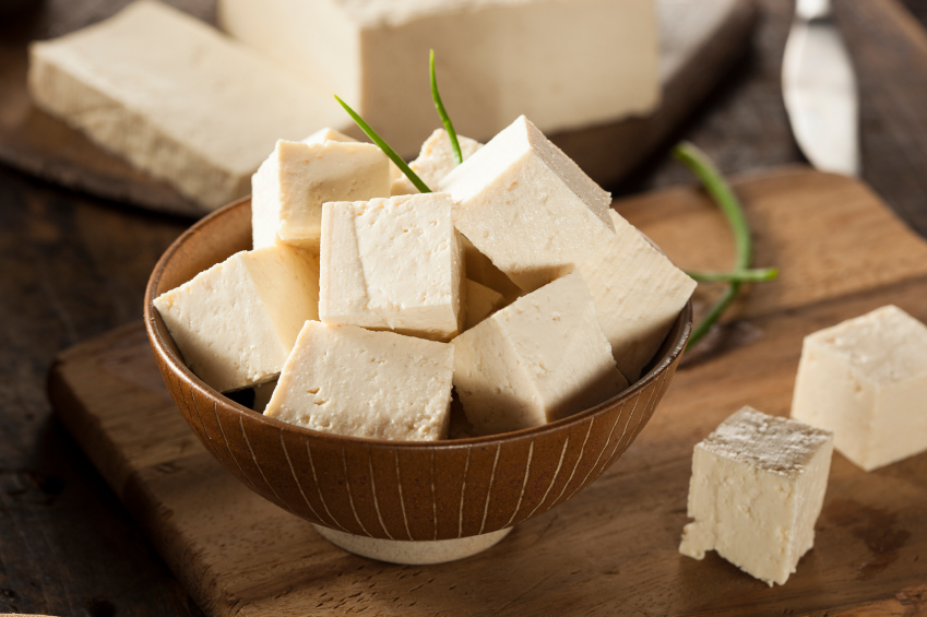 Cubed tofu in a bowl