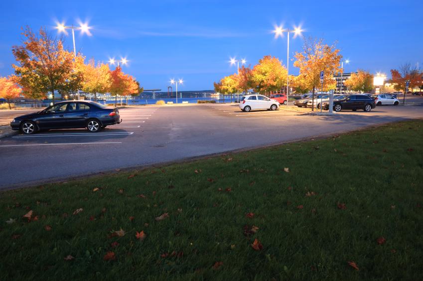 parking lot as it's getting dark outside