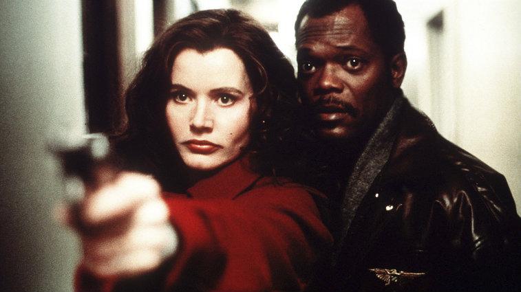 Geena Davis and Samuel L Jackson in The Long Kiss Goodnight
