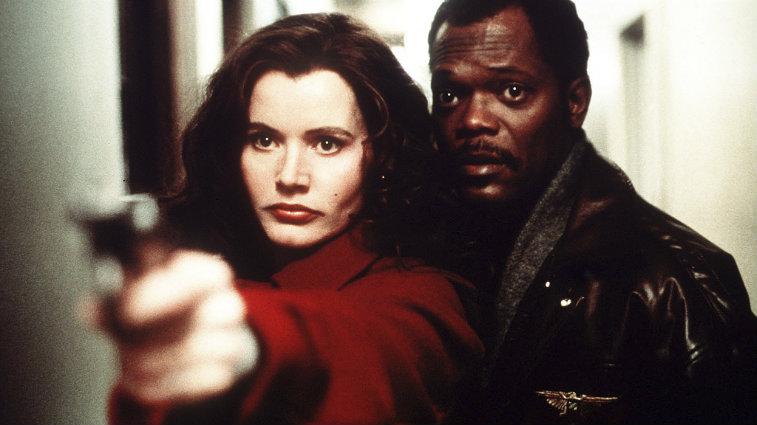 Geena Davis and Samuel L Jackson in The Long Kiss Goodnight