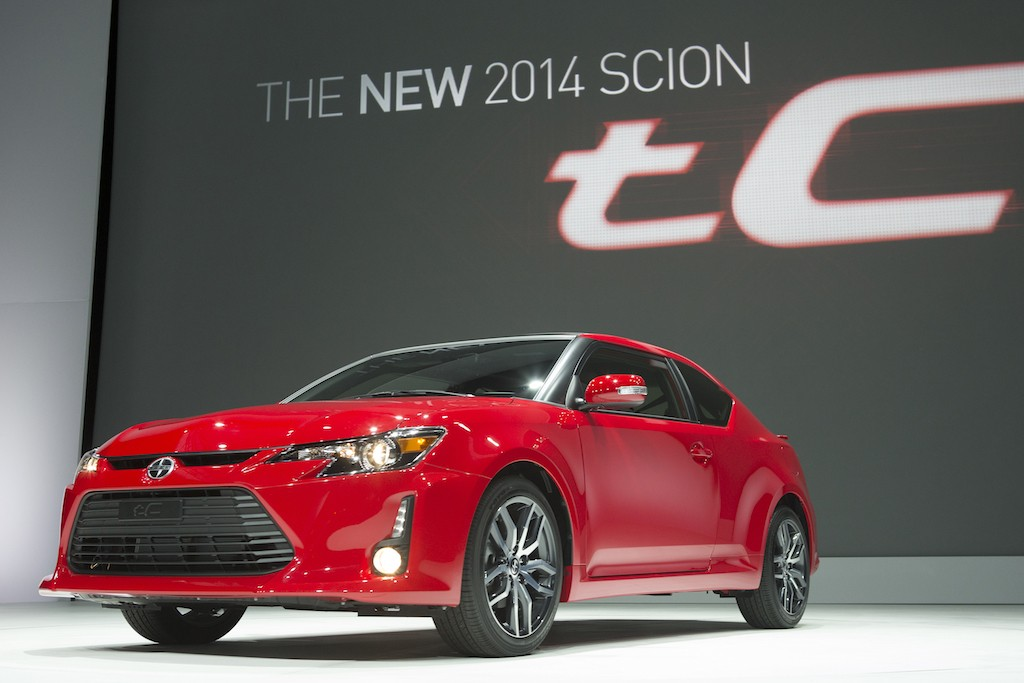 View of red Scion tC (MY 2014) at New York Auto Show
