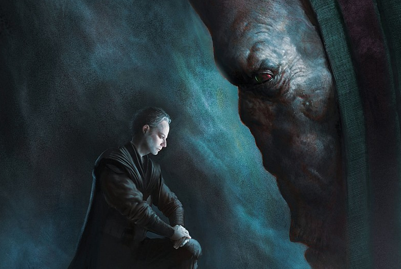 Palpatine kneeling before Plagueis in cover art for the book