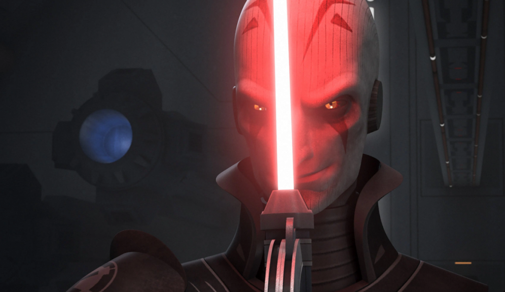 The Grand Inquisitor from Rebels, staring menacingly, with a red lightsaber in front of his face