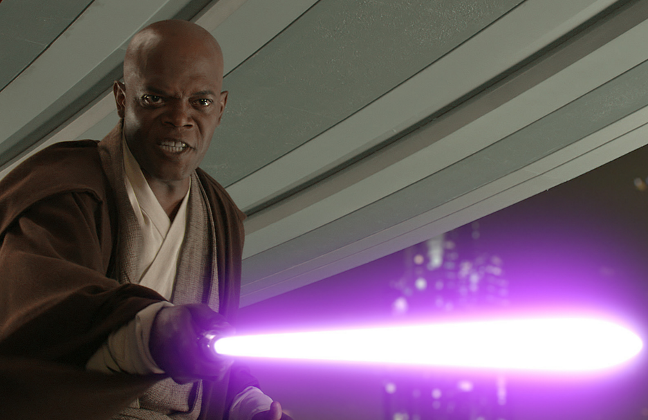 Mace Windu holding his lightsaber out in front of him