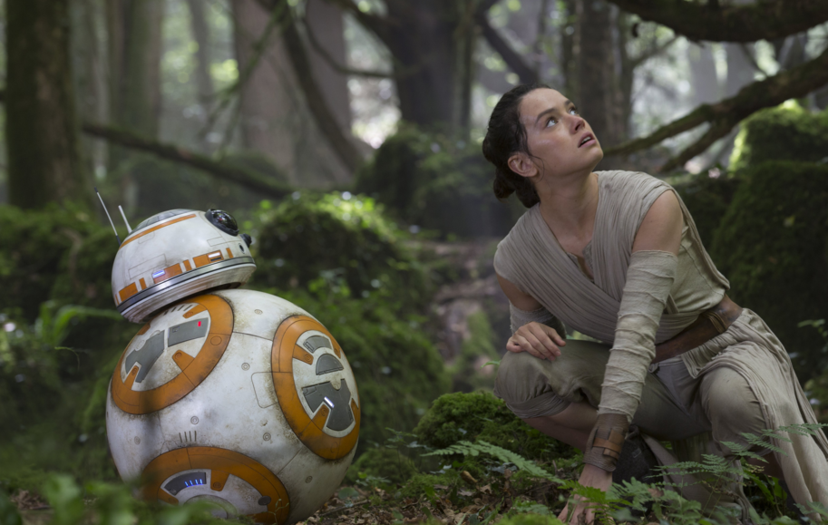 Rey and BB8 in Star Wars: The Force Awakens