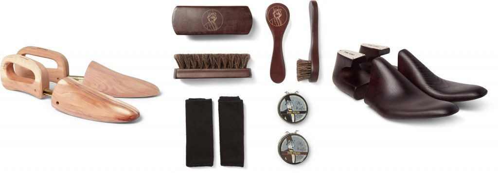 Shoe trees by Church's and Tom Ford, shoe shine kit from Wolf