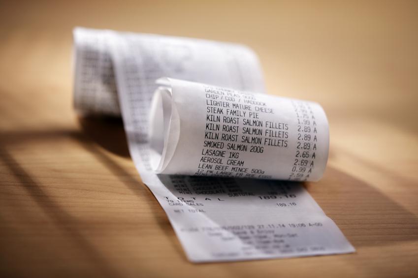 shopping bill receipt