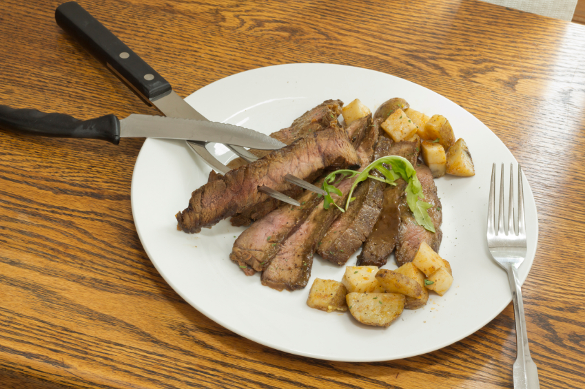 Sliced Steak Potatoes in a white plate