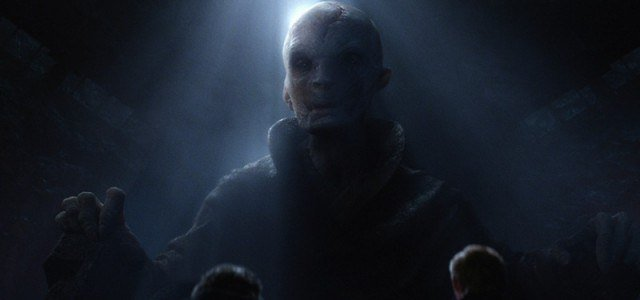 Snoke is in the dark while a beam of sunlight gleam over him.