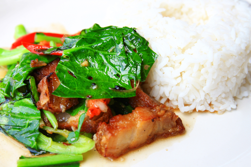 Thai food with rice and pork