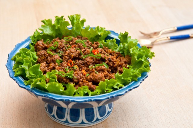 Ground beef over a bed of lettuce