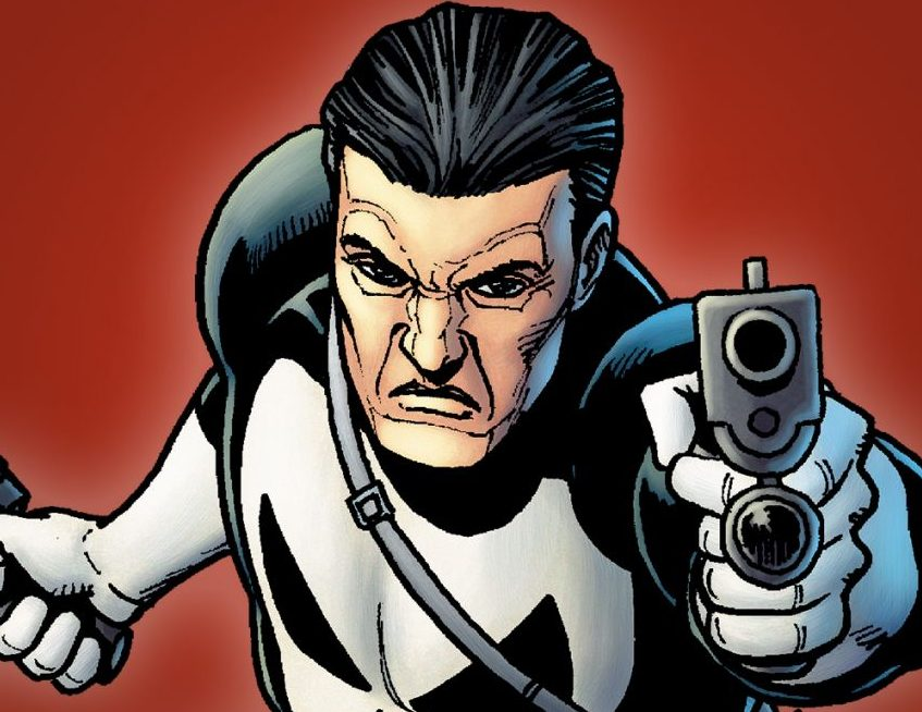 The punisher holds a gun up