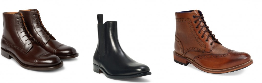 Winter boots by O'Keeffe, Ralph Lauren, and Ted Baker