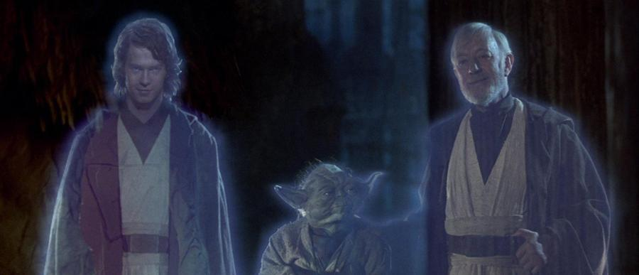 Anakin, Yoda, and Obi Wan, standing together and smiling as Force ghosts