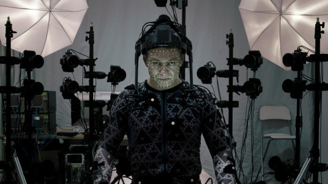 Snoke's actor in a virtual reality suit during filming.