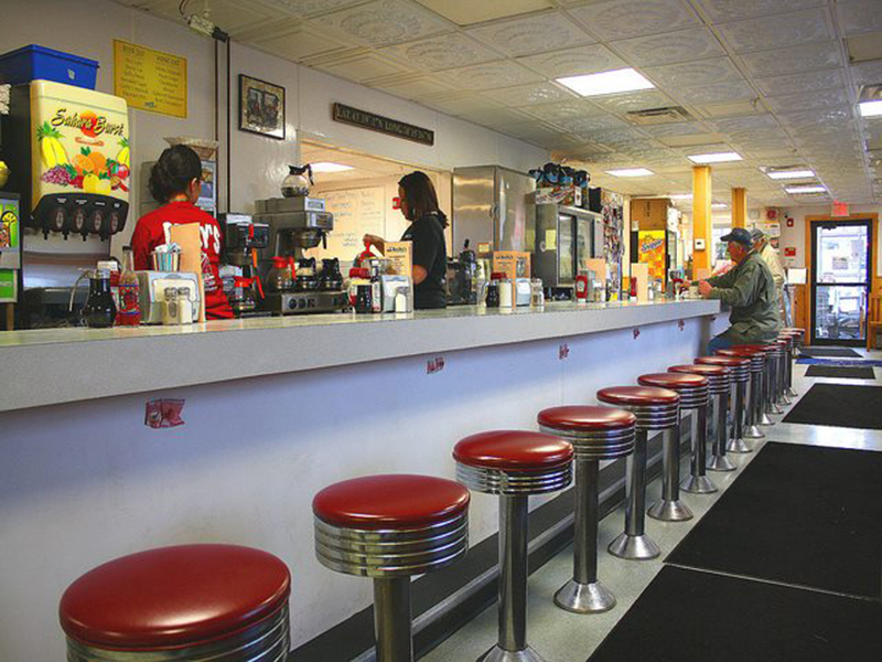 stool seating at Becky's Diner in Portland, Maine