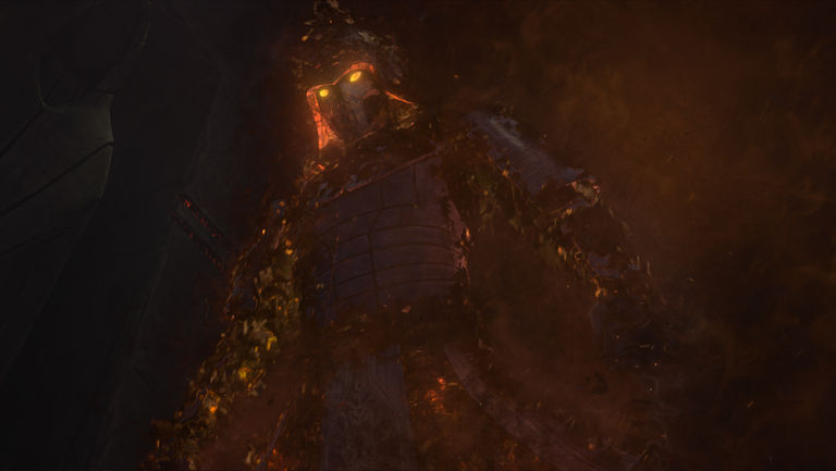 The ghost of Darth Bane, wearing black, flaming armor, with glowing yellow eyes