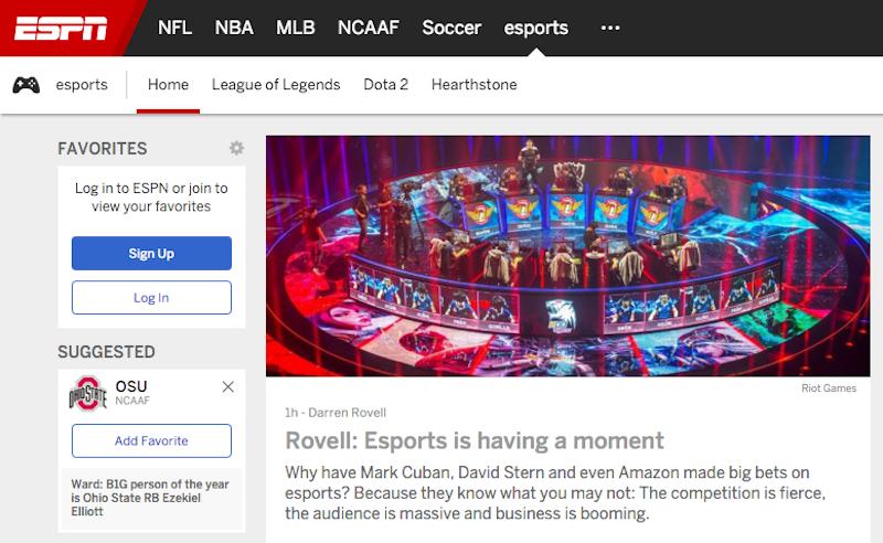 ESPN eSports vertical