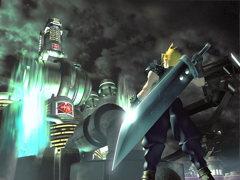 Cloud Strife wields his enormous sword.