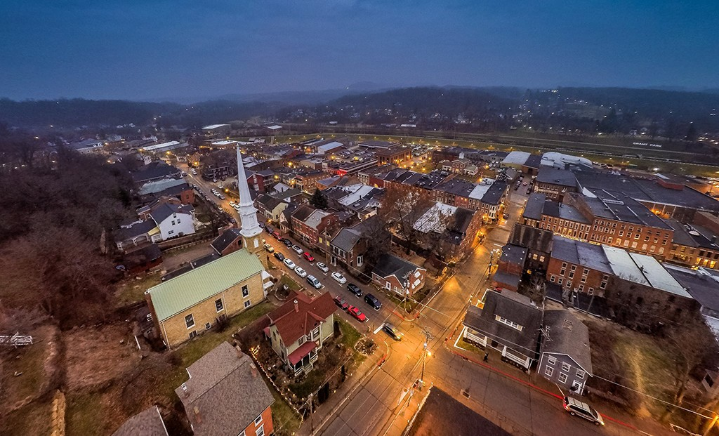 Overhead view of Galena, Illinois at night