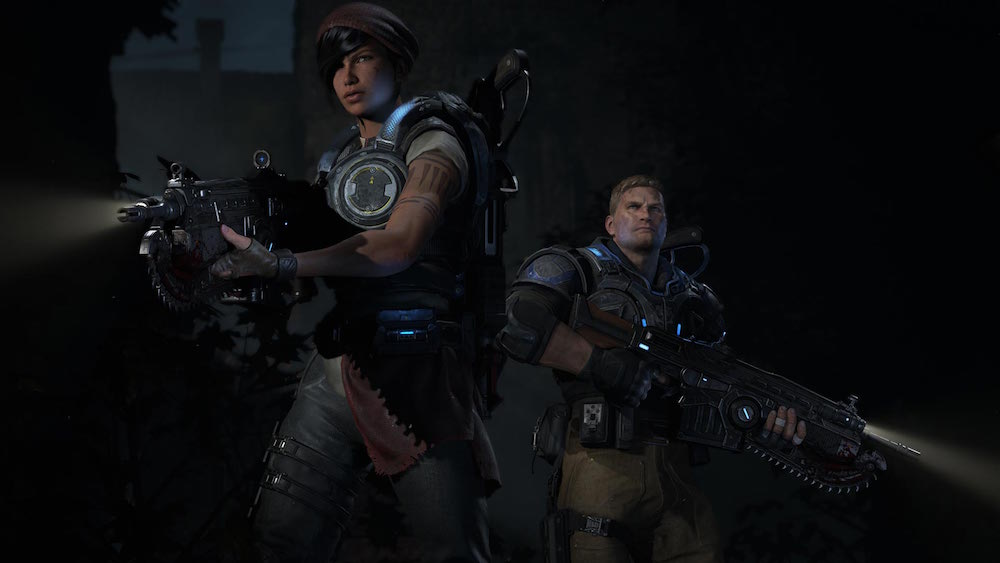 Two soldiers prepare to fight a locust horde in Gears of War 4.