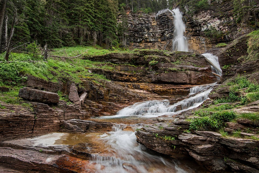 Waterfall at Glacier National Park in Montana