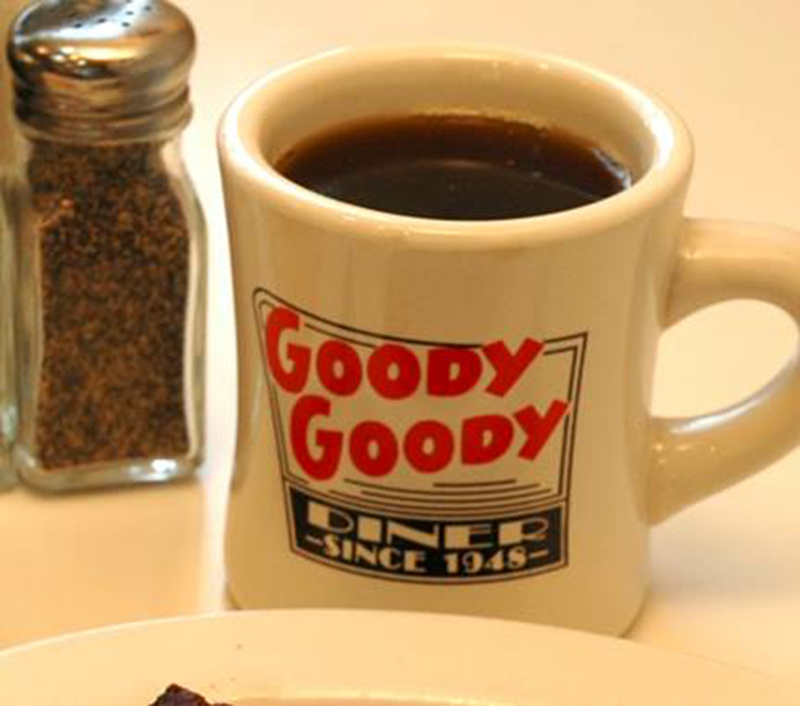 Mug of coffee at Goody Goody Diner in St. Louis