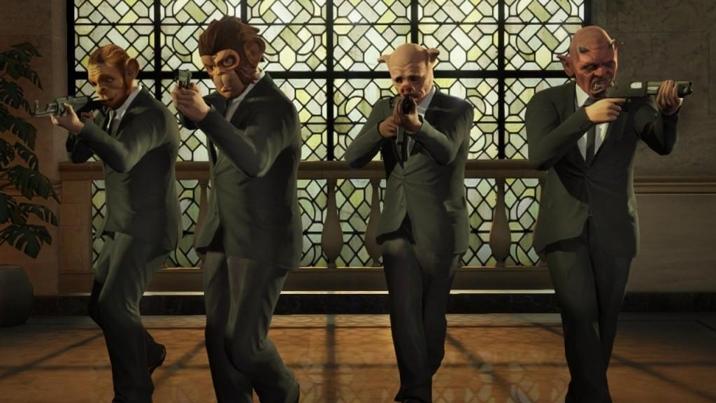 Bank robbers wearing masks