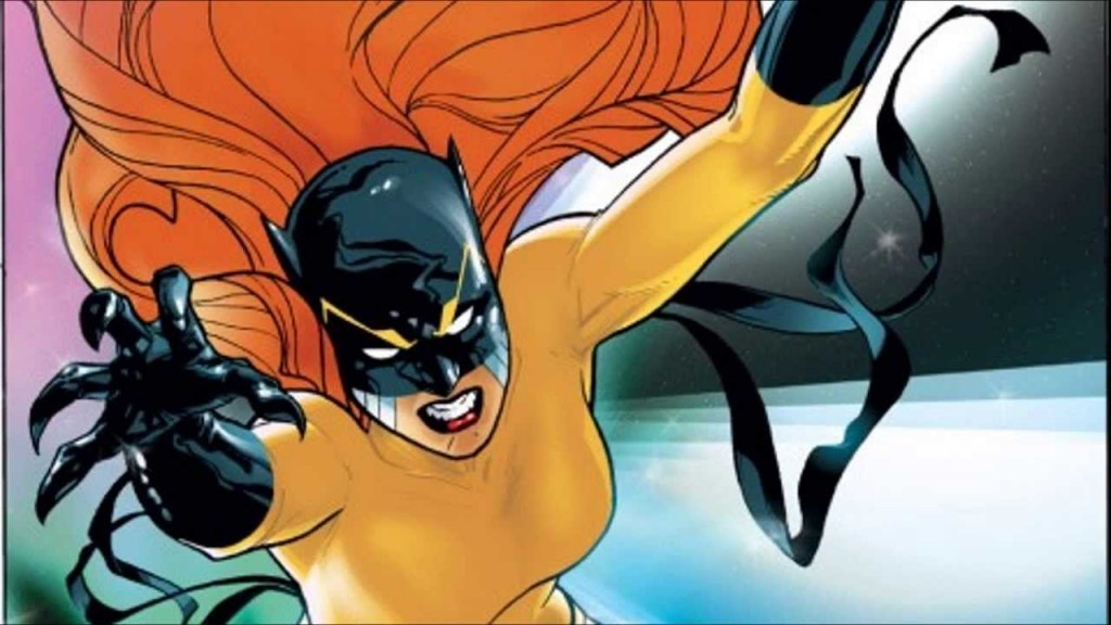 Hellcat jumping at the camera with her claws out and red flowing hair