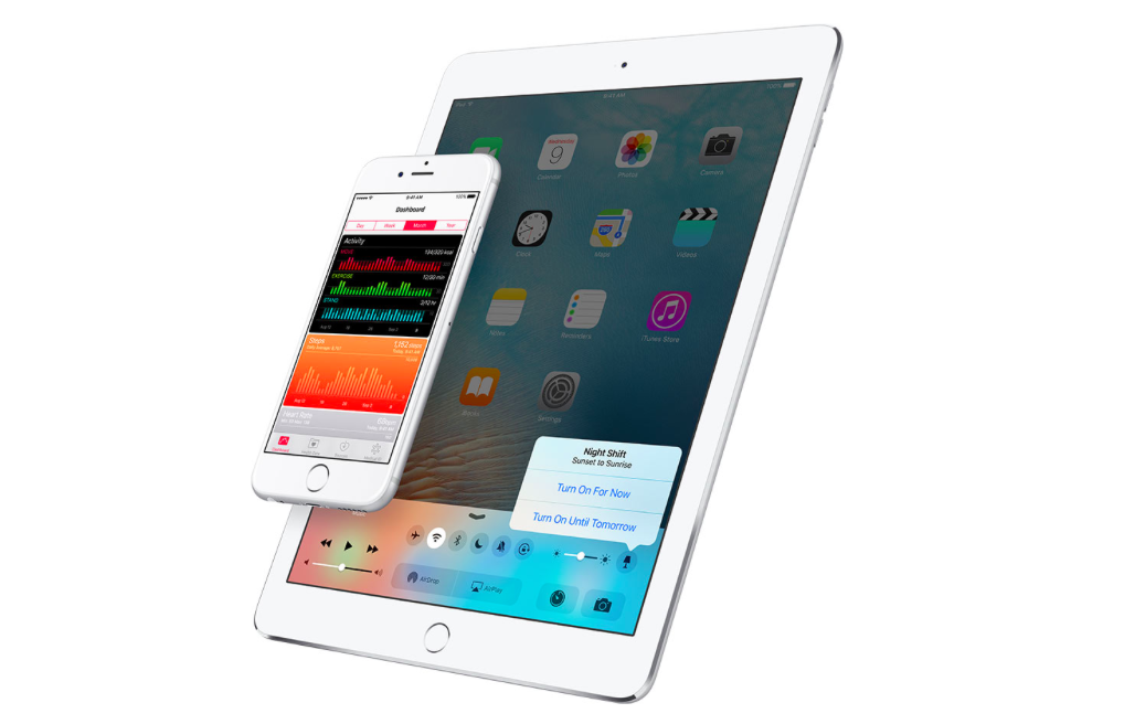 iOS 9.3 preview showing Night Shift toggle in the Control Center