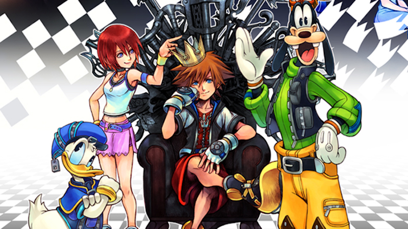 Goofy, Donald Duck, and more gather around the hero of Kingdom Hearts.