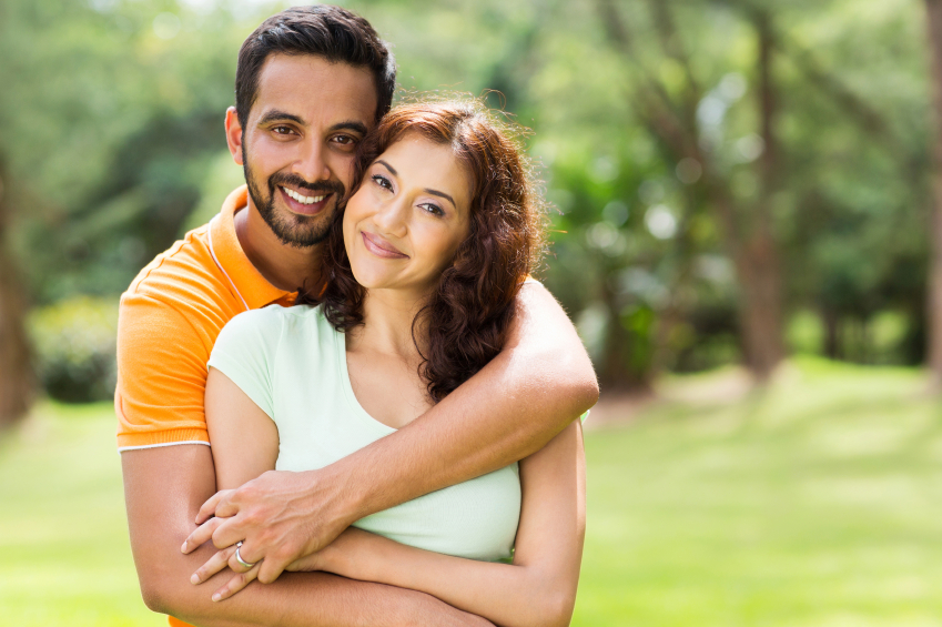 Happy Indian couple in park