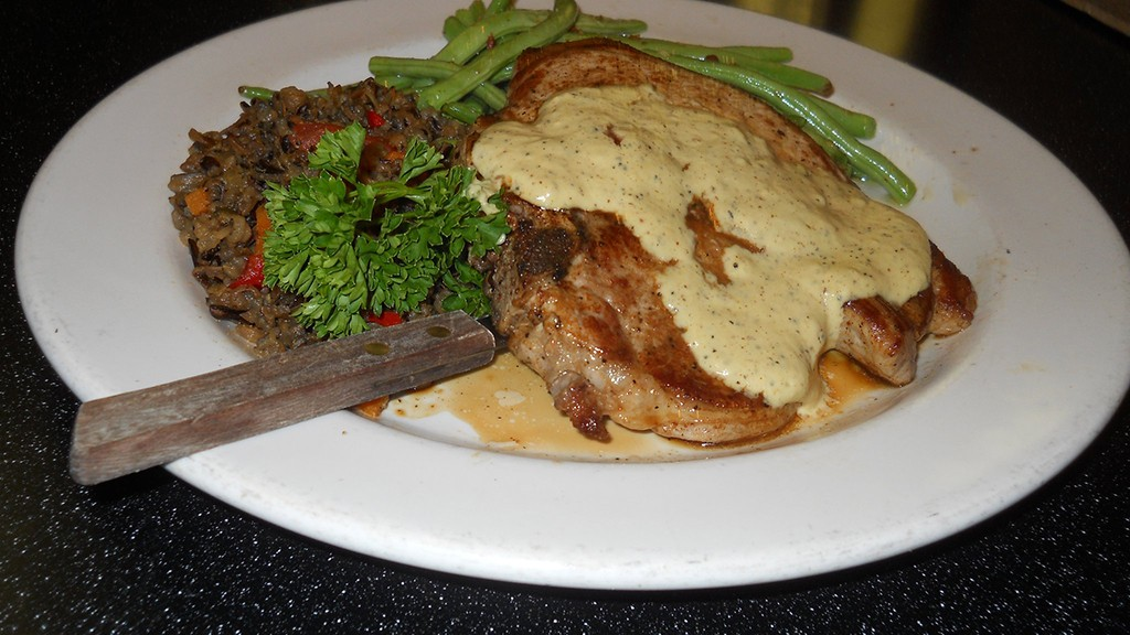 Pork chop at the Magnolia Cafe in Austin