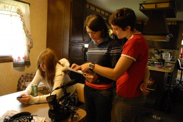 Laura Ricciardi and Moira Demos on the set of 'Making a Murderer'