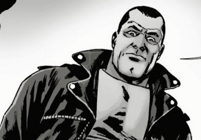 'The Walking Dead's most memorable villain, Negan, looks down menacingly in the comics.