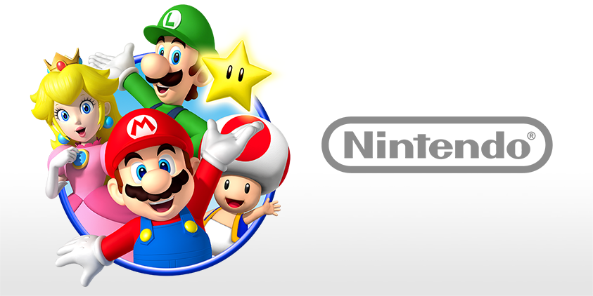 Mario, Luigi, Peach, Toad, and a Nintendo logo