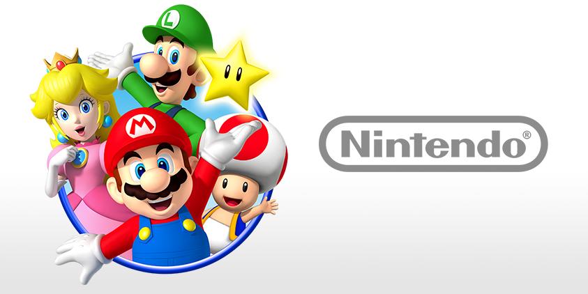 Mario, Luigi, Peach, Toad, and a Nintendo logo