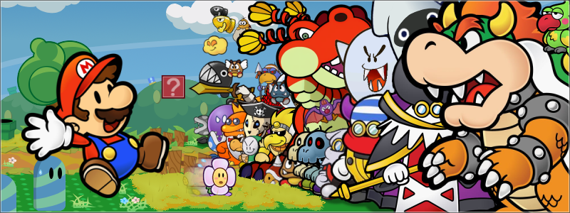 Paper Mario is being chased by a pack of colorful enemies.