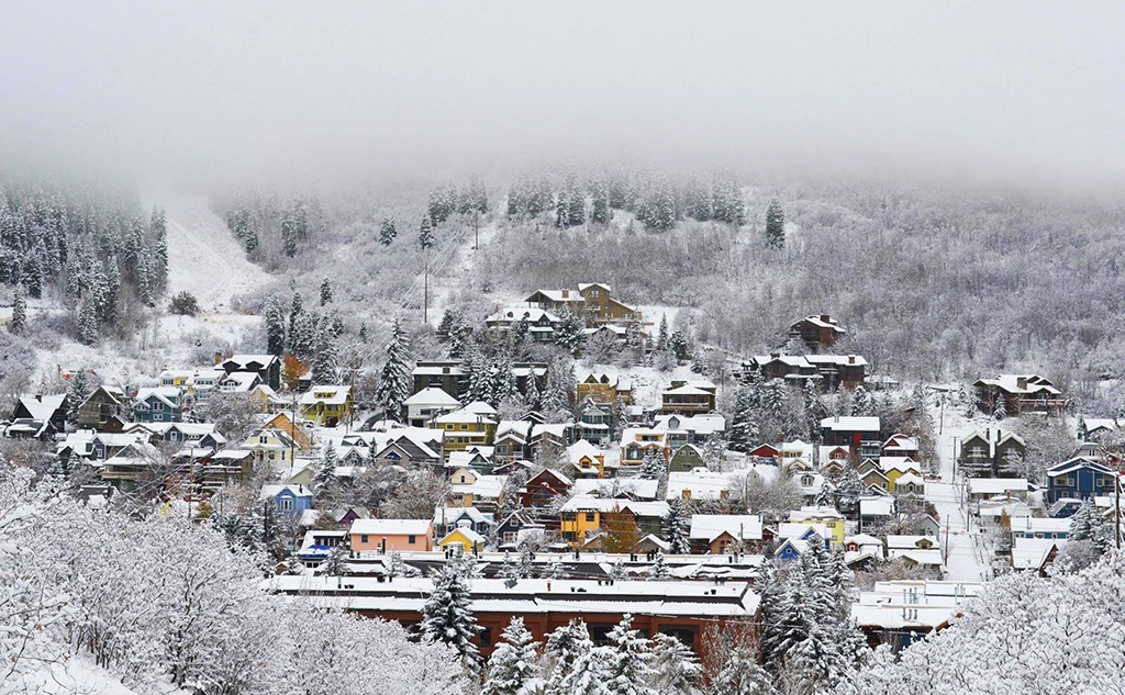 Park City, Utah covered in snow