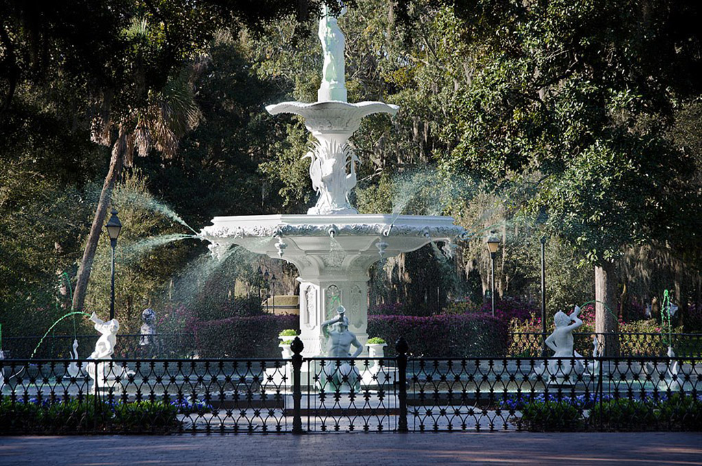 water flowing at famous fountain in downtown Savannah, Georgia