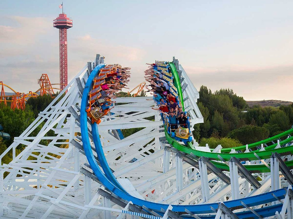 Twisted Colossus roller coaster at Six Flags Magic Mountain in Valencia, California