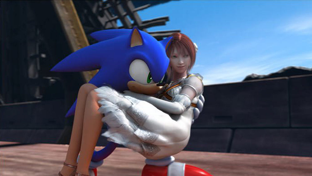Sonic the hedgehog carries a princess in this 2006 reboot.