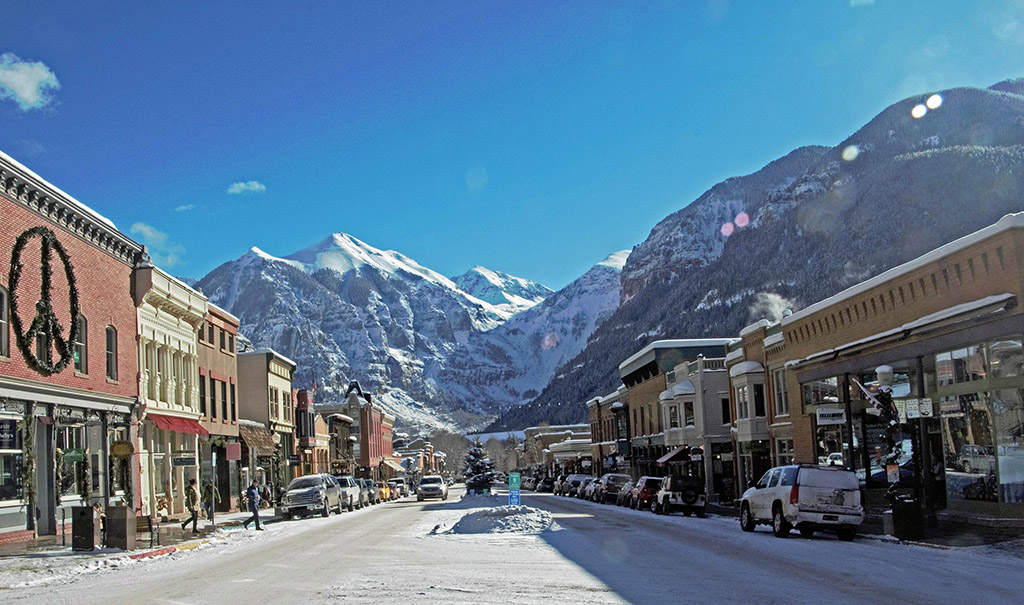 shops and cafes in downtown Telluride , Colorado