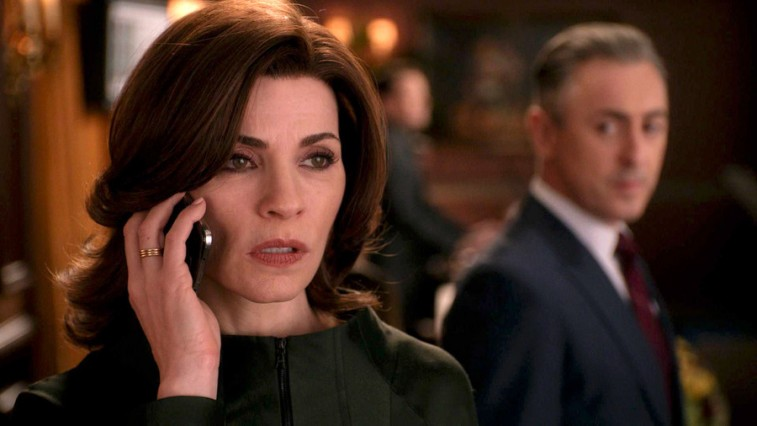 Julianne Marguiles holds a phone to her ear in the a scene from The Good Wife